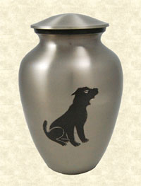 Metal urn with dog image